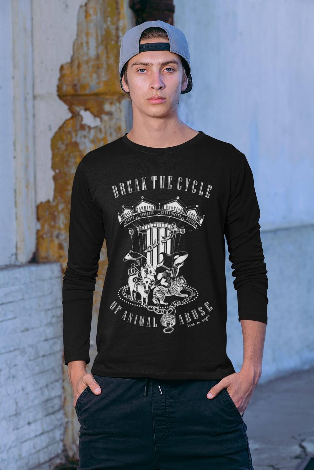 Unisex longsleeve tshirt. Break the cycle of animal abuse by eco-ethical brand Viva La Vegan