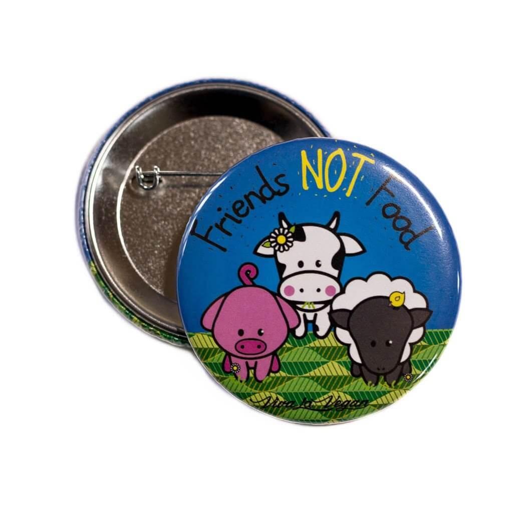 58 mm Statement Badge: VLV Friends NOT Food