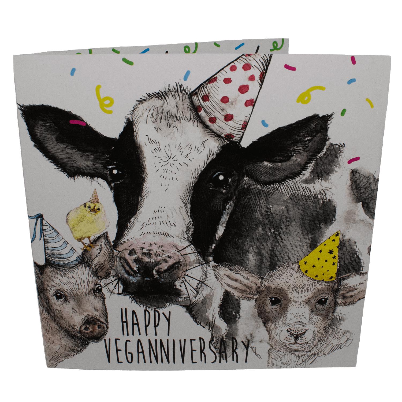 Greetings Card: Veganniversary- Daisy and Friends