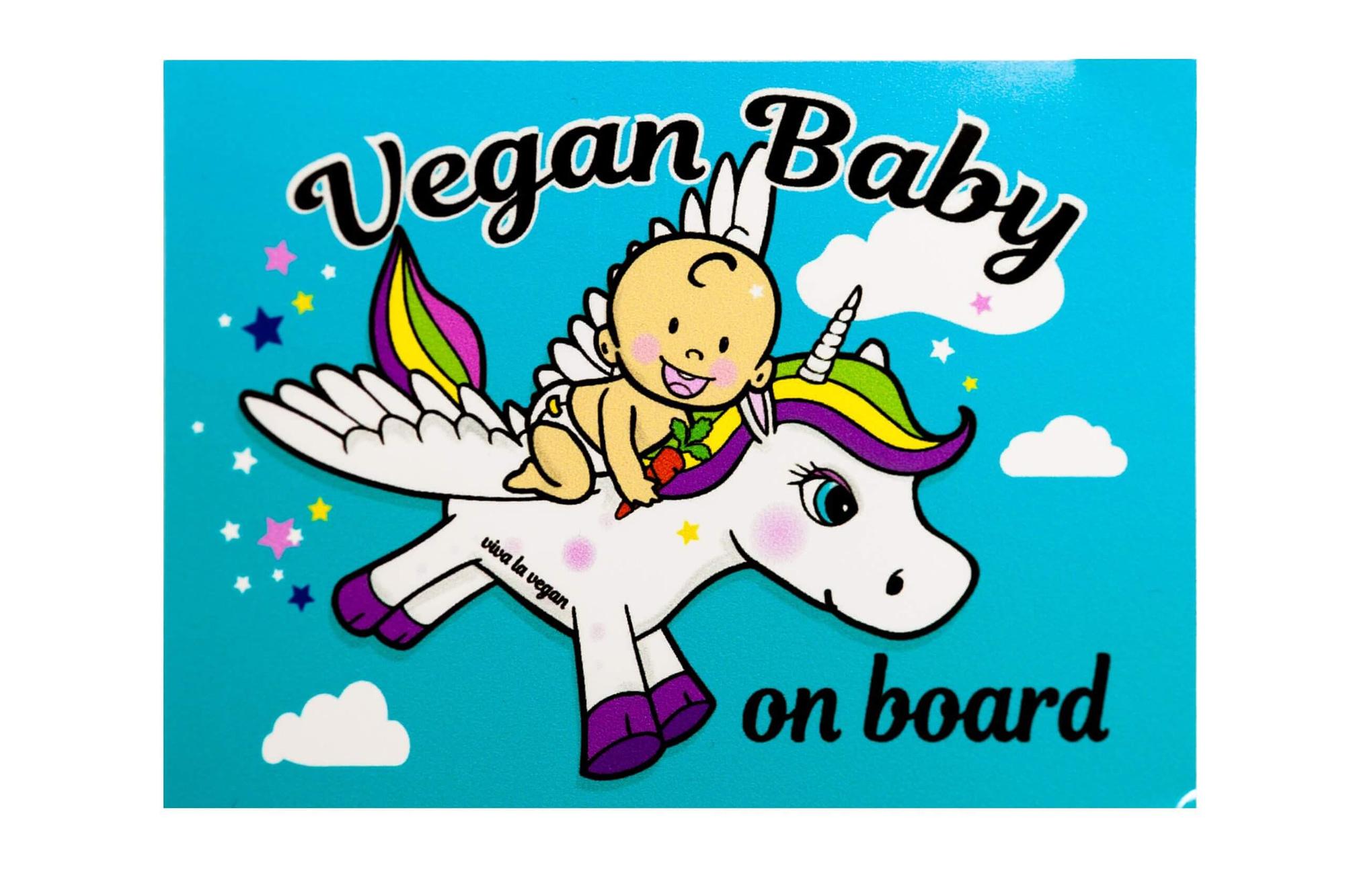Window Sticker- Vegan Baby On Board 10 x 7 cm