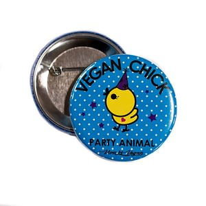 58mm Statement Badge: Vegan Chick Cartoon 58 mm
