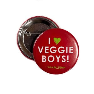 58 mm Statement Badge: I Heart Veggie Boys!
