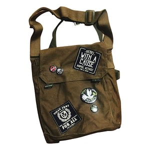 Reworked military bag. Ex army surplus by eco-ethical brand Viva La Vegan