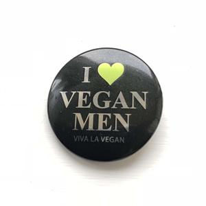 38mm Metallic Badge: I Love Vegan Men