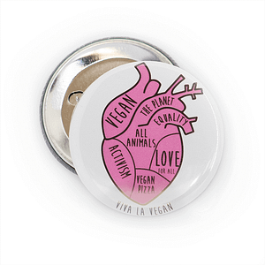 58mm Badge: Vegan In My Heart