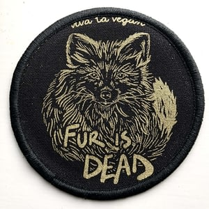 SECONDS Premium Printed Patch Round - FUR IS DEAD! (iron on)
