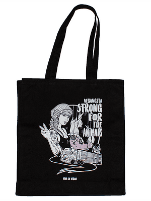 Strong For The Animals. Black Organic Canvas Shopper