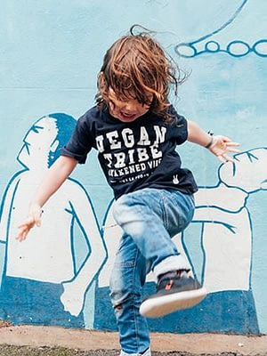 Childrens Vegan Tribe T-shirt . Awakened Vibe (unisex) NAVY