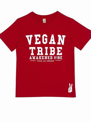 Childrens Vegan Tribe T-shirt . Awakened Vibe (unisex) RED