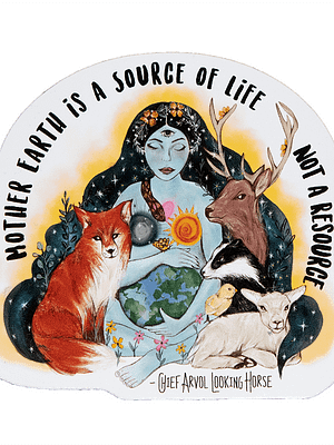 Vinyl Vegan Sticker - Mother Earth is a Source Of Life