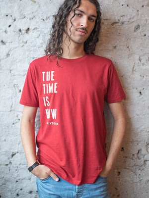 Model wearing The Time Is Now Vegan Statement Tshirt