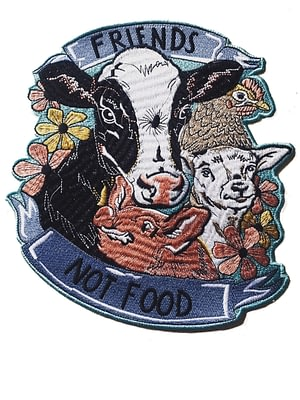 Embroidered charity patch XL , friends not food by eco-ethical brand Viva La Vegan