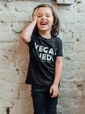 Vegan Model wearing Vegan Jedi Kids Tshirt
