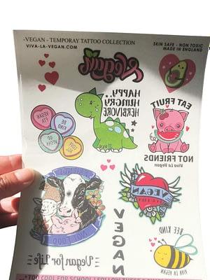 A5 sheet ofCute Vegan temporary tattoos by eco-ethical brand Viva La Vegan sheet