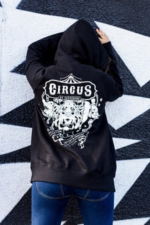 UNISEX Zip Through Hoodie / Ladies : Circus Of Suffering. Exploitation not entertainment