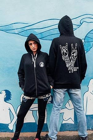 UNISEX Zip Through Hoodie : Vegans Rock
