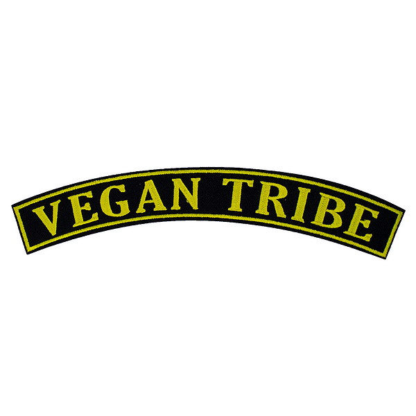 Embroidered Rocker Patch: Vegan Tribe BLACK / YELLOW