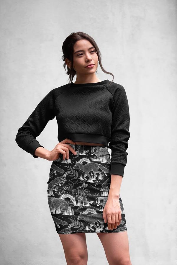 Wildlife all over printed pencil skirt by eco-ethical brand Viva La Vegan