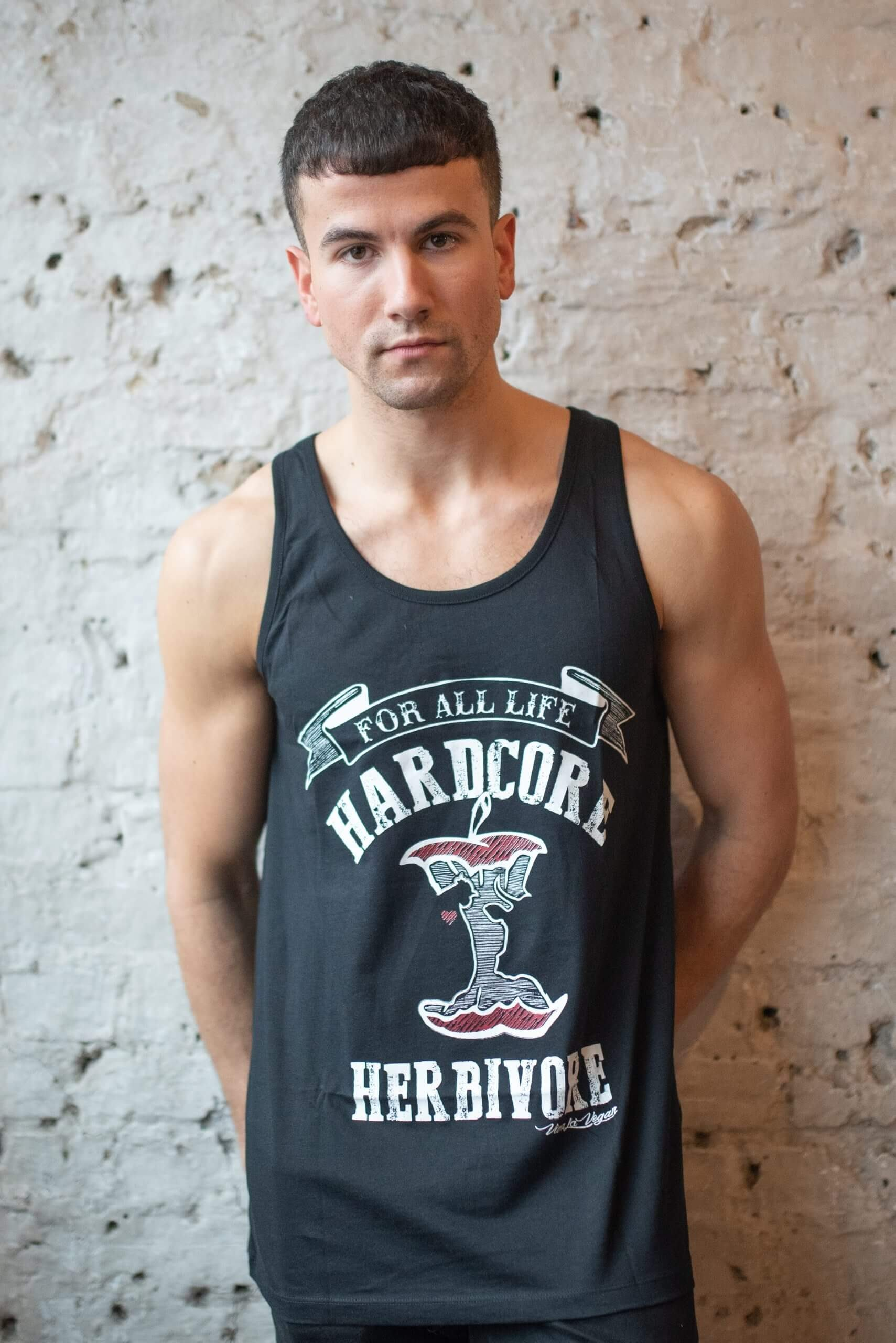 Male Model wearing hardcore herbivore statement organic vest
