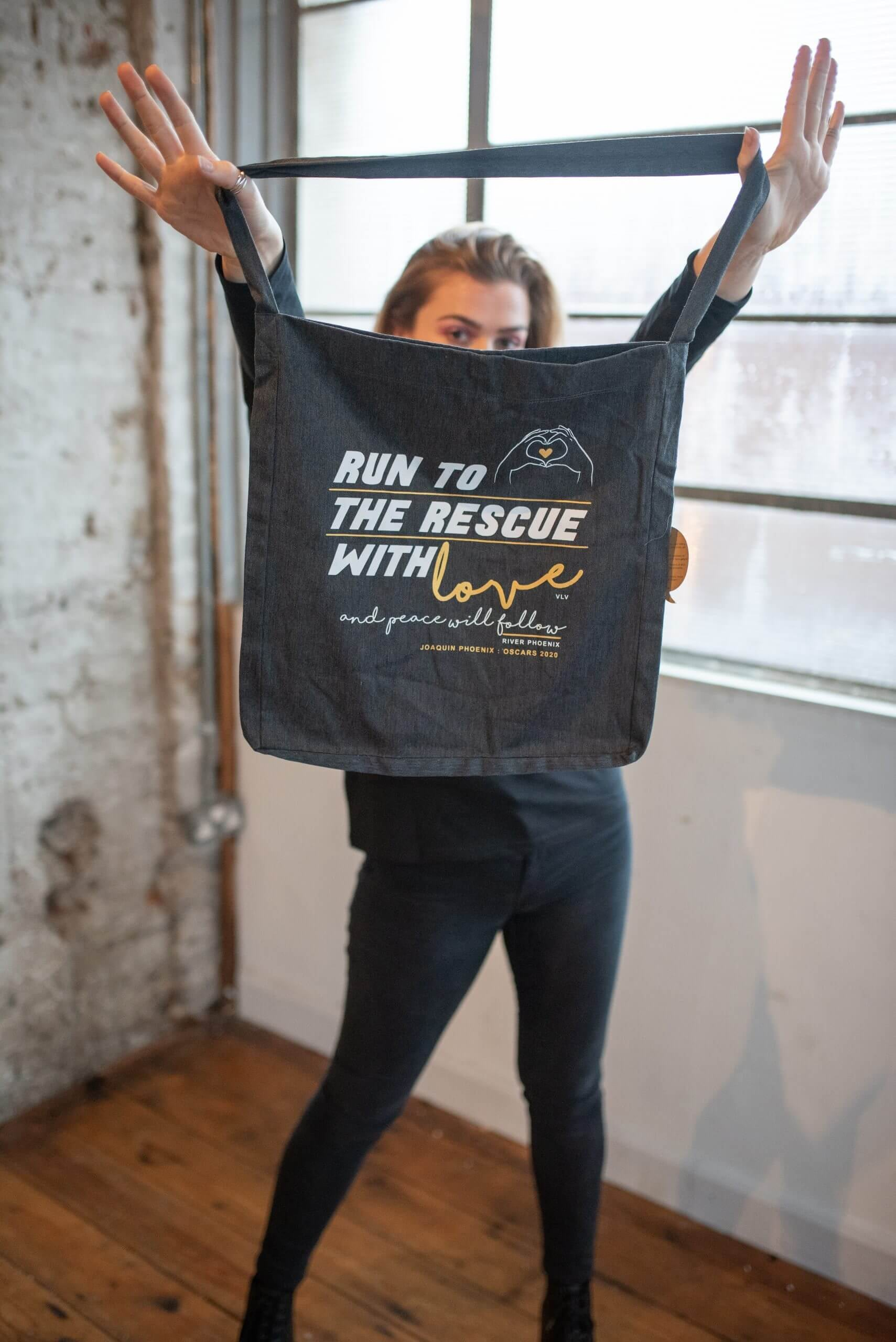 Run to the rescue bad. Dark grey, by eco-ethical brand Viva La Vegan