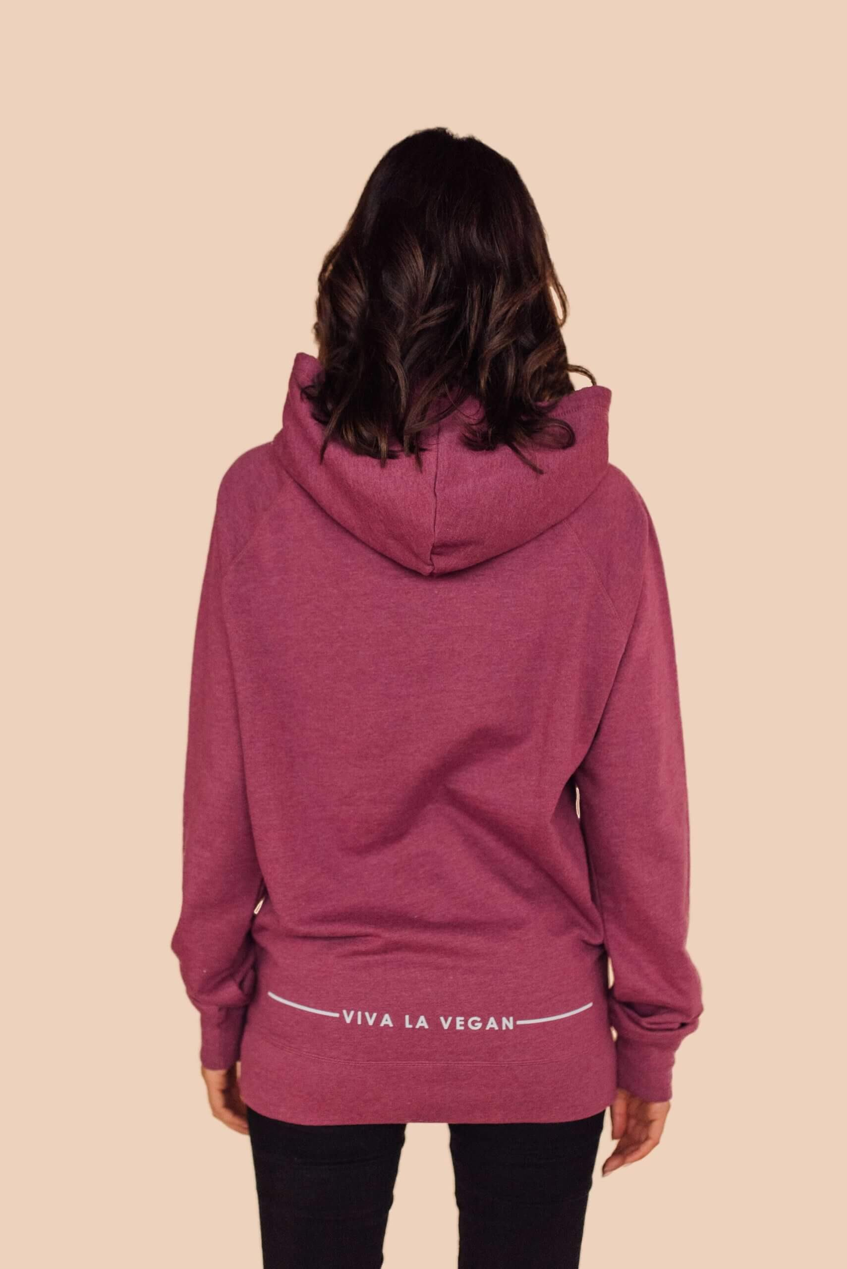 Vegan tribe hoodie back print detail by eco-ethical brand Viva La Vegan