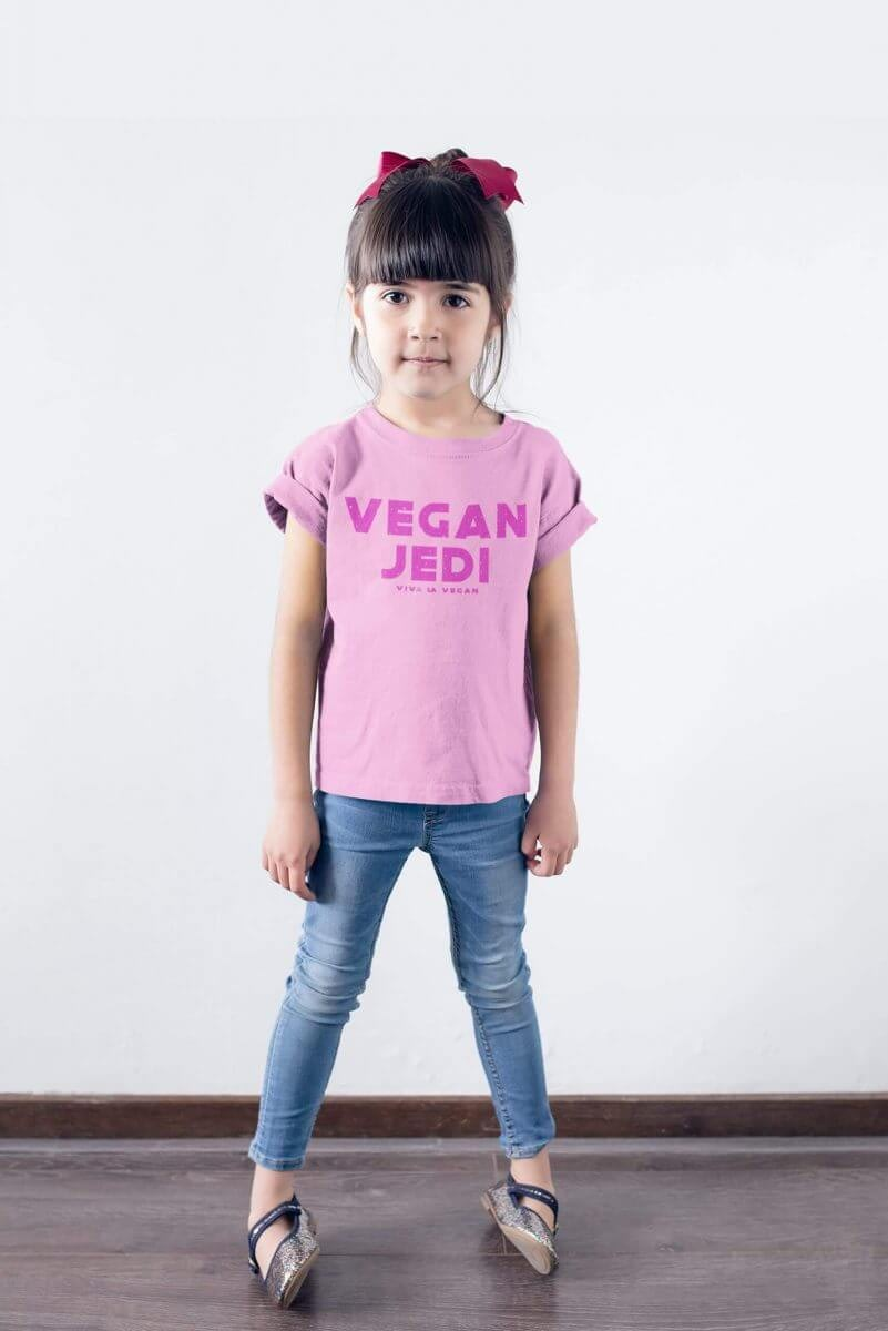 Childrens organic pink, vegan jedi tshirt by eco-ethical brand viva lavegan