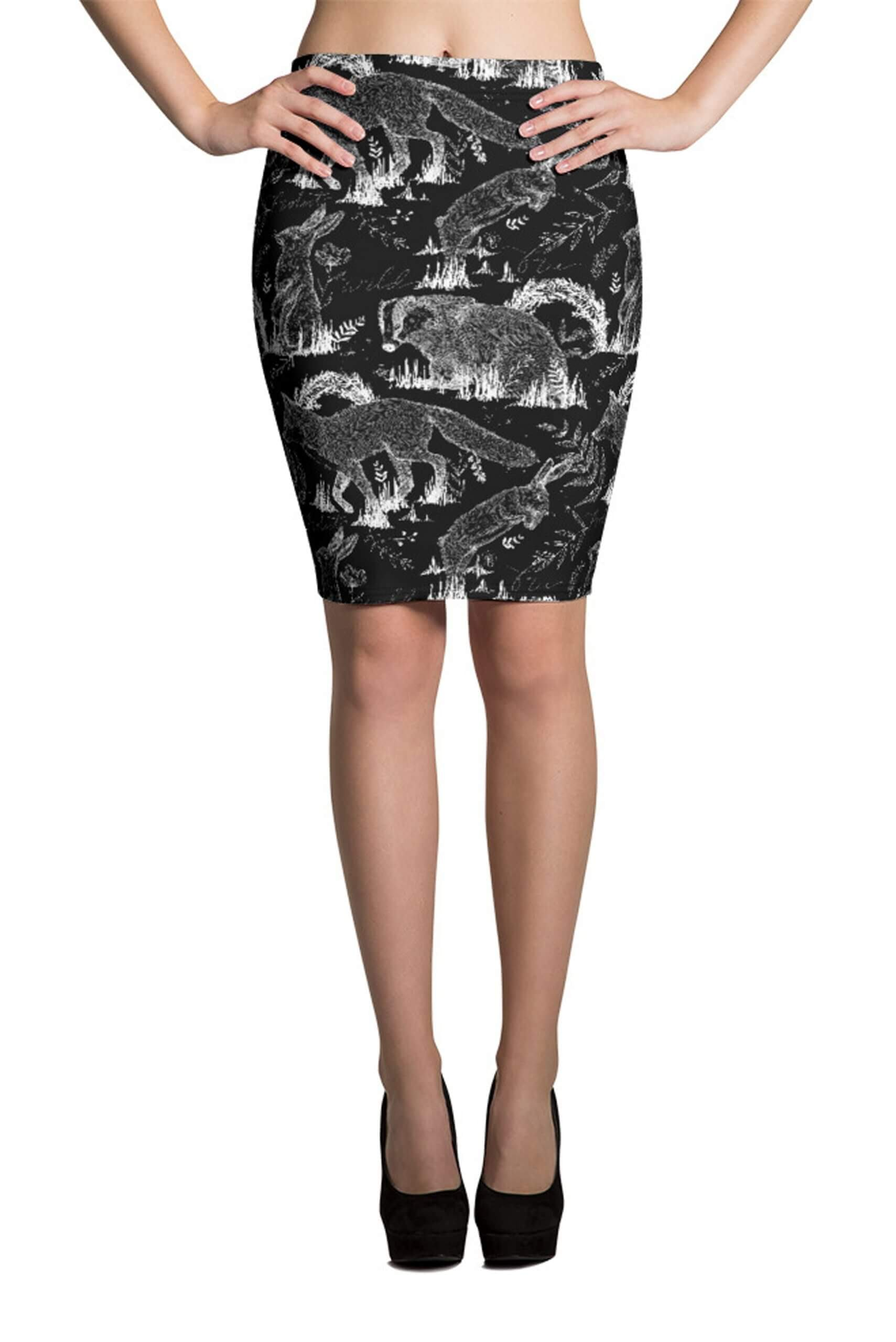 All over vegan inspired wildlife printed pencil skirt